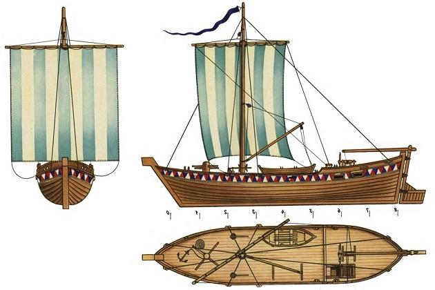 Модель поморского коча в Военно- морском музее Краснознаменного Северного флота в Мурманске