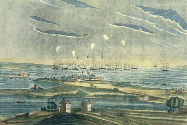 Британские бомбардирские корабли обстреливают американский форт Мак Генри в 1814 г.