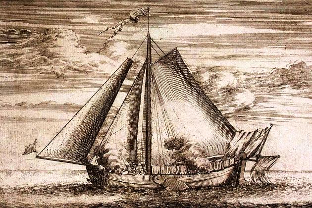 10-пушечный шведский бот «Гедан» - трофей русского флота. П. Пикарт. 1703 г.