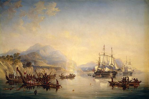 Английские бомбардирские корабли «Эребус» и «Террор» у берегов Новой Зеландии в августе 1841 г. Дж. Кармичел. 1847 г.