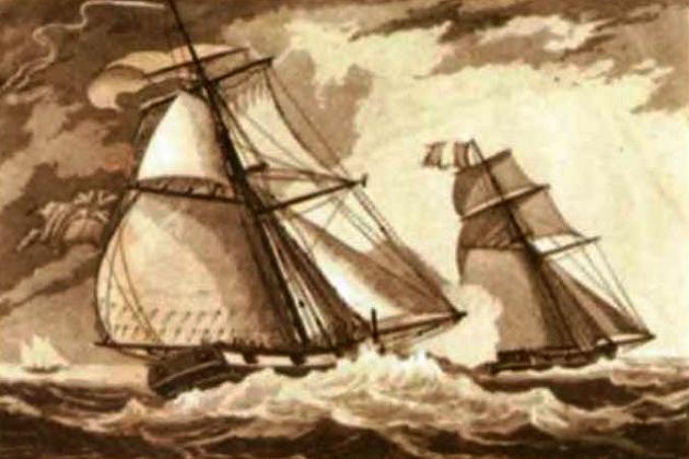 Английский куттер «Нимбл» преследует у побережья Северной Америки французский капер. 1781 г.