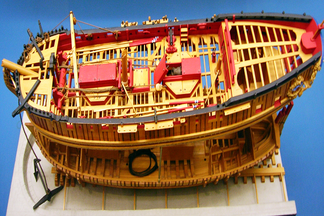 Модель корпуса английского бомбардирского корабля «Гранадо» постройки 1742 г.