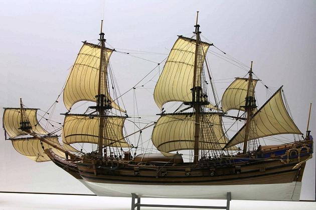 Модель типичного парусного корабля – типичной жертвы пиратов