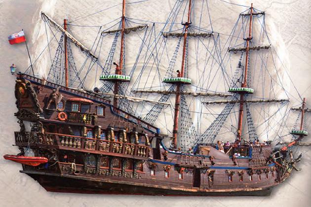 Построенная в 2003 г. в Польше реплика типичного пиратского корабля XVII в. Имеющая название «Дракон»