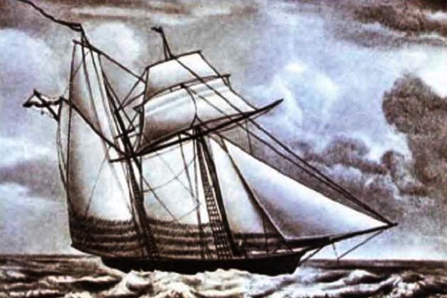 Двухмачтовая 16-пушечная шхуна Черноморского флота «Ласточка», построенная в 1838 г.