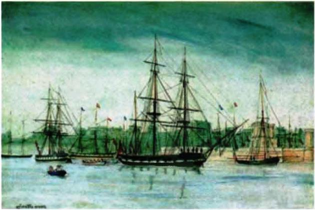 Английский шлюп «Бигль» на акварели Оуэна Стенли 1841 г. во время третьего путешествия близ берегов Австралии