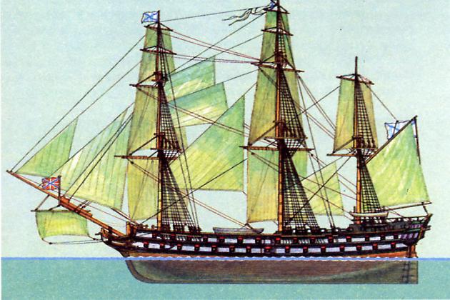Линейный корабль«Святой Павел» – флагман эскадры Ф. Ф. Ушакова в Средиземноморском походе
