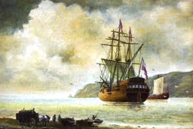 Типичный торговый парусник у побережья колониального владения
