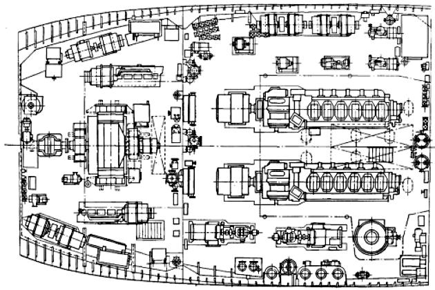 Расположение машинного отделения морского буксира