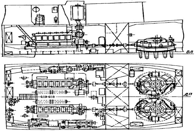 Схема общего расположения машинного отделения